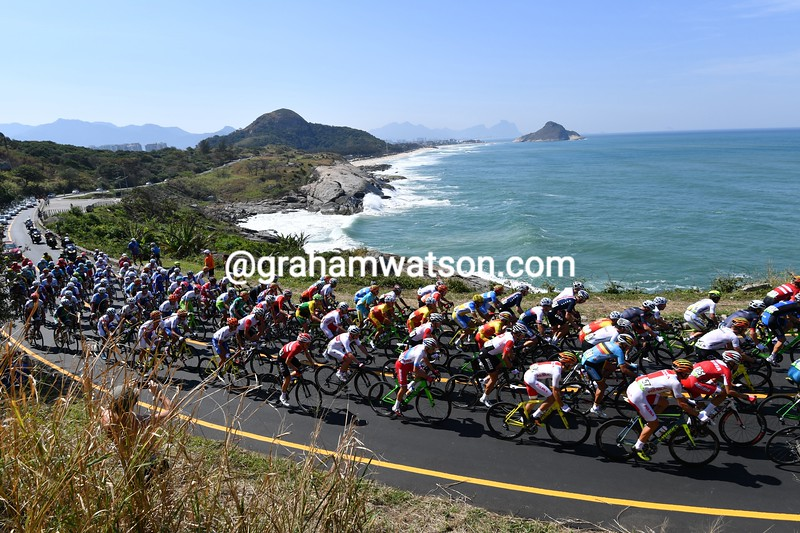 The views are stunning as the peloton reverts to sightseeing along the coastline