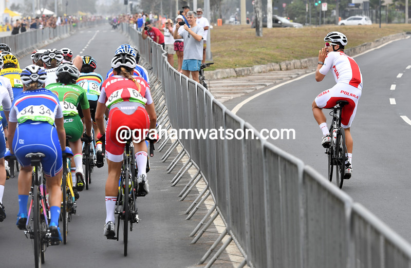 A training Michal Kwiatkowski shouts encouragement to a Polish competitor - what a true fan!