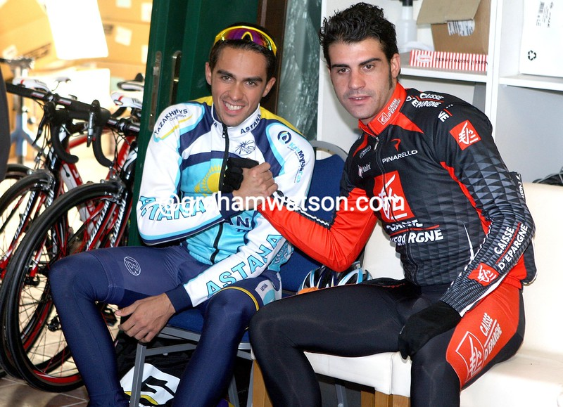 ALBERTO CONTADOR AND OSCAR PEREIRO AT THE ASTANA TEAM CAMP IN PISA