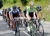 Lars Boom leads an expanded escape of foiurteen men up the Col de Corbier...