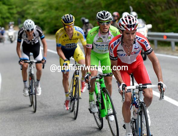Daniel Moreno leads Bongiorno, Roche and Preidler as the escape breaks up..
