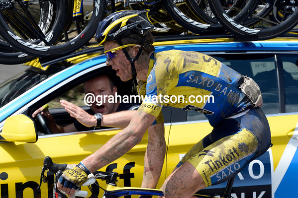 Chris-Anker Sorensen isn't hurt - but he'll need a good shower or two later-on..!