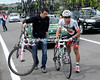 Arashiro is unhurt but his pink Colnago needs replacing..!