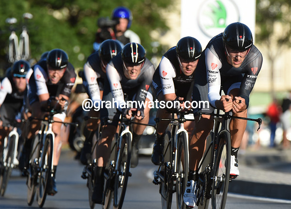 Fabian Cancellara led Trek to 4th place, just nine-seconds off the winning pace...