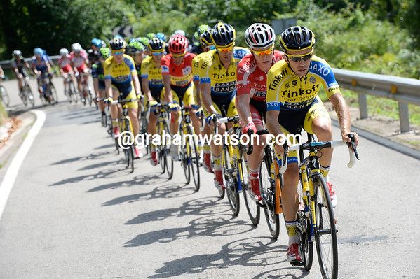 Ivan Rovny is chasing for Tinkoff, even though they have two riders in the escape...
