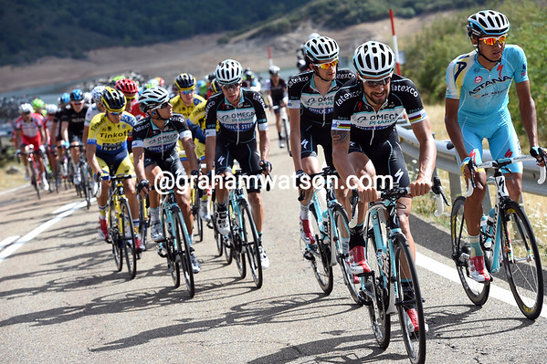 Boonen has dropped back from the escape to help Omega in their efforts for Uran, but the stage has been lost...