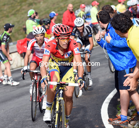 Contador is about to make another attack with three-kilometres to go...