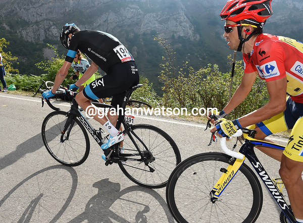 Froome looks to be wilting with three-kilometres left, there's a predator on his wheel called Contador...