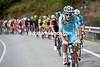 Jacopo Guarnieri leads Astana's chase in the third hour of racing - the peloton is seven-minutes beind...