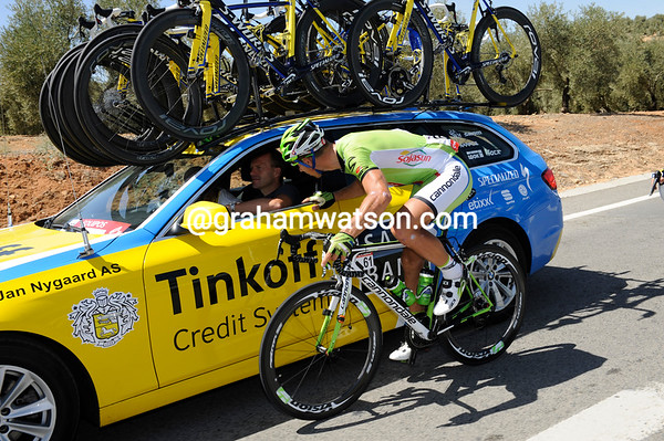 Peter Sagan is taking the time to get to know the staff at Tinkoff-Saxo...