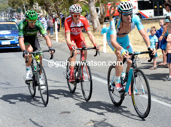 Three riders are on the attack as the rode turns steep - Grivko, Meyer and Cousin...
