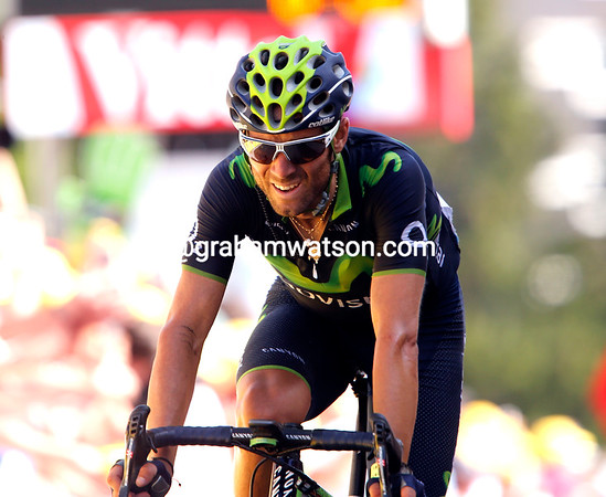 "Alejandro Valverde finishes 50-seconds down but moves into 2nd-place overall, 3' 37"" back..."