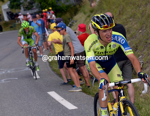 Up ahead, Majka has dropped De Marchi with five-kilometres to go...