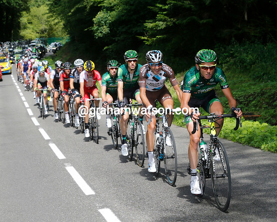Europcar is dominating the chase-group - they have Pierre Rolland looking to move up the G.C...