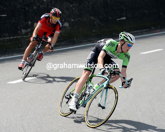 Steven Kruijswijk leads Martin Kohler in the first escape of the day...