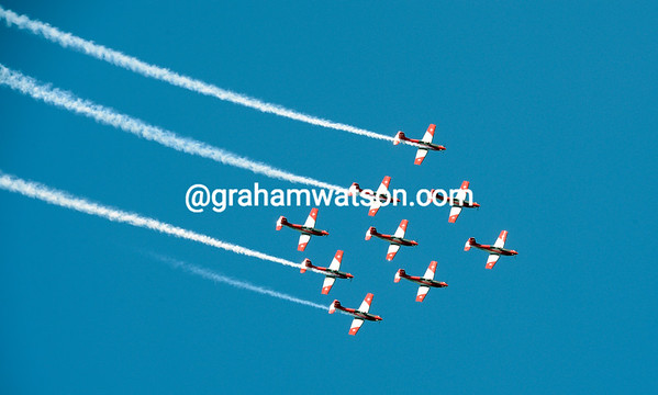 Aside from Mark Cavendish's win, the highlight of this day was the fly-past by the Swiss air-force...