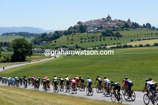 The hilltop town of Romont beckons the peloton...