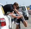 Fabian Cancellara is getting his shoe cleats cleaned out...