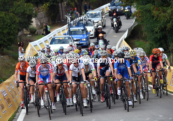 The peloton regroups once again, but this tme there are only 50 or so riders left...