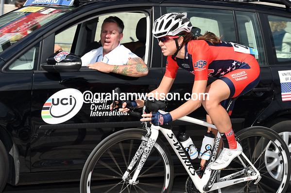Evelyn Stevens is back at the USA car discussing tactics...