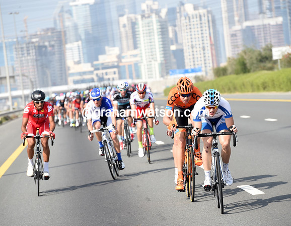 Chtioui is gobbled up by a dozen other cyclists also trying to get away...