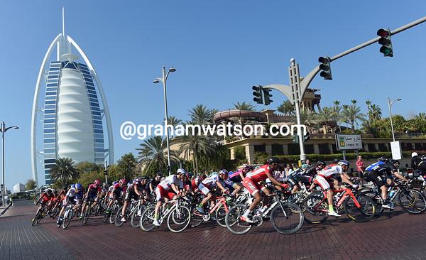 A famous Dubai landmark watches over the race as the peloton turns back towards the finish at the Burj Khalifa...