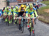 Nikolay Trusov leads the peloton on to cobbles near Etikhove - it's getting hard out there..!