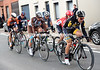 Kristian Sbaragli leads the 'morning escape' away with five other riders...