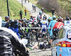 Vivian's return to the peloton is delayed by a massive pile-up on the Haaghoek cobbles...