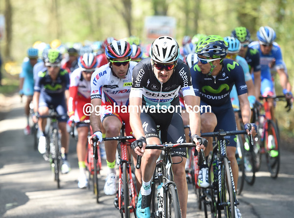 Peter Serry has taken Etixx to the front of the peloton on the Bohissau, the serious stuff is about to begin...