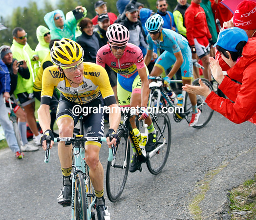 Kruijswijk, Contador and Aru are almost at the summit and safe from any chasers on the descent...