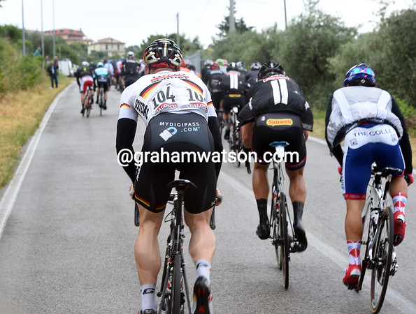 It's looking like another grim day for the sprinters, with Andre Greipel the first to drop back on the steep climb...