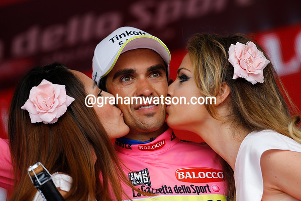Alberto Contador is still the race-leader going into the first rest-day - but he's not smiling about it too much..!