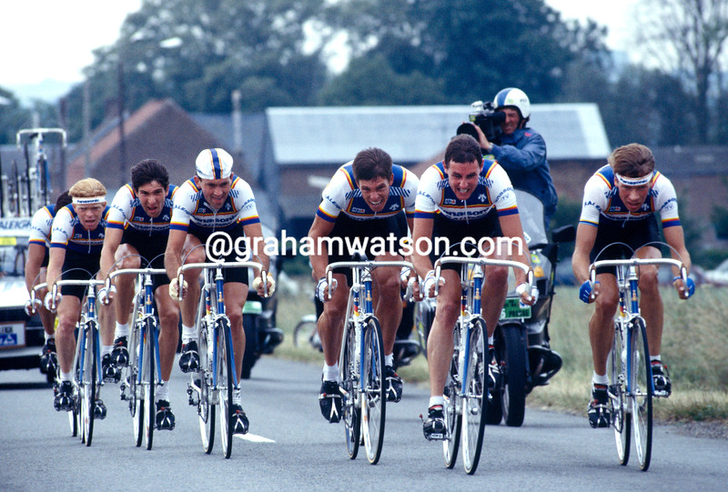 The Panasonic team is led in the 1986 Tour de France by Theo de Rooij and Henk Lubberding