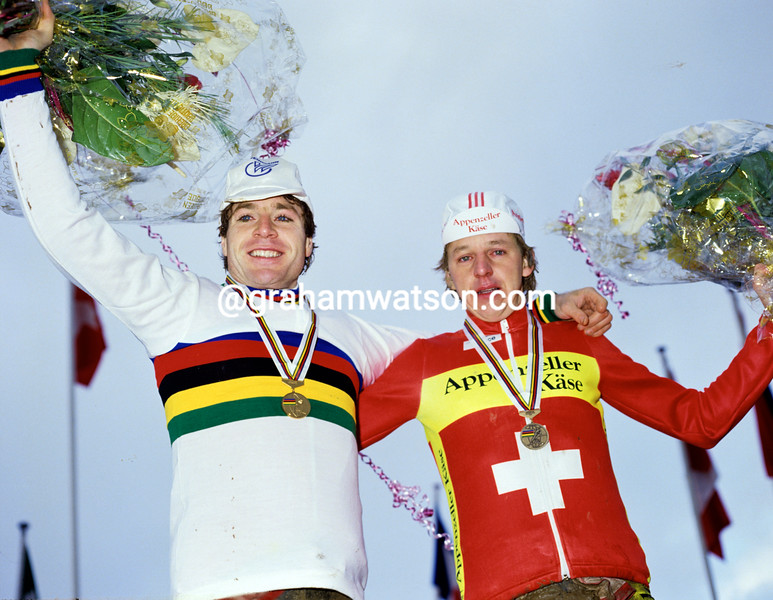 Pascal Richard and Beat Breu in the 1988 World Cyclo-Cross Championships
