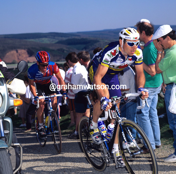 Pascal Richard and Lance Armstrong in the 1996 Liege-Bastogne-Liege
