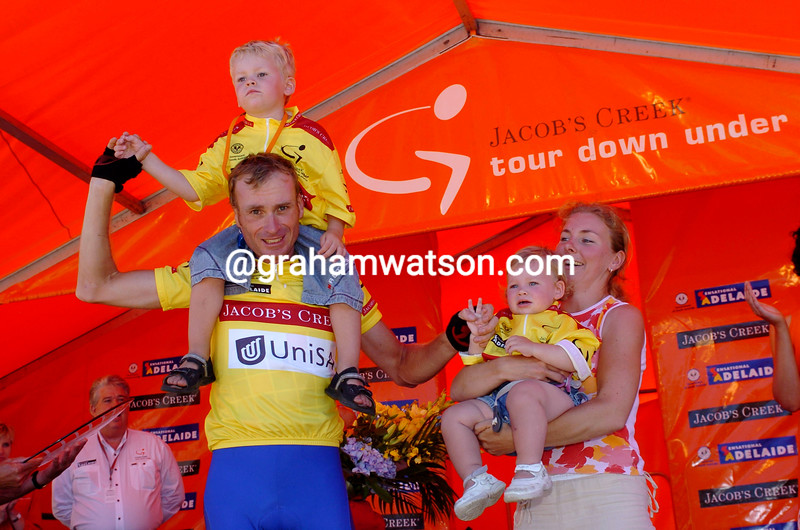Patrick Jonker with his family after winning the 2004 Tour Down Under