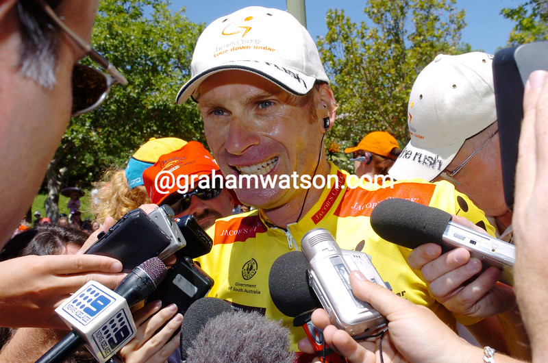 Patrick Jonker after winning the 2004 Tour Down Under