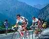 Pedro Delgado leads Greg Lemond n the 1990 Tour de France