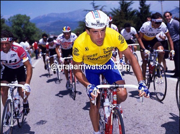 PEDRO DELGADO CLIMBS IN THE 1989 TOUR DE FRANCE