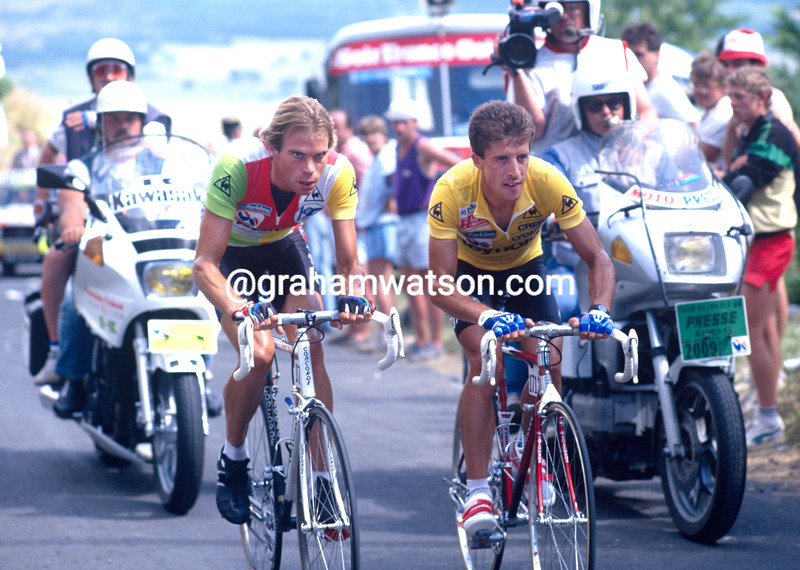 Pedro Delgado and Gert-Jan Theunisse in the 1988 Tour de France