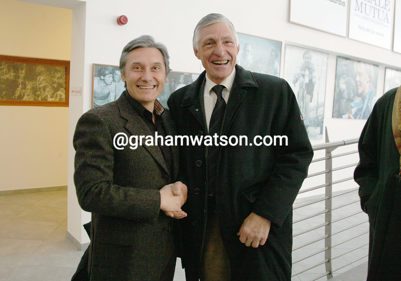 GIUSEPPE SARONNI AND FRANCESCO MOSER AT THE OPENING OF THE MADONNA DEL GHISALLO MUSEUM IN 2009
