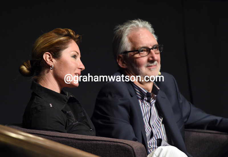 Rochelle Gilmore and Brian Cookson at the 2014 UCI Junior Congress