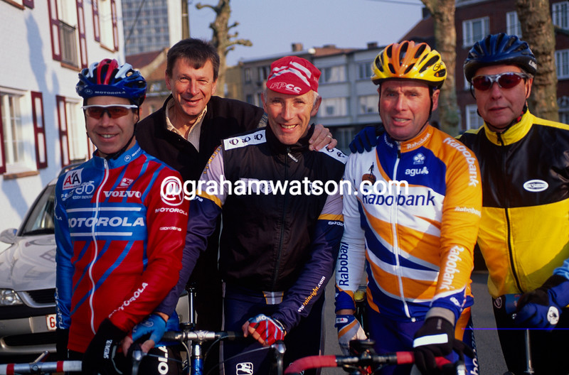 Phil Liggett with Paul Sherwen, Hennie Kuiper, Tim Grady, and Jim Ochowicz