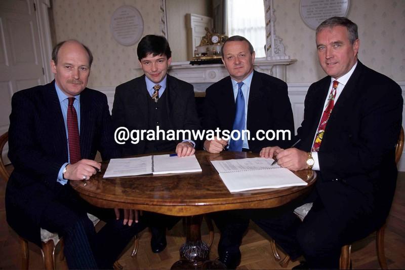 Alan Rushton and Pat McQuaid meet with Jean-Marie Leblanc to organise the 1998 Tour de France start in Dublin.