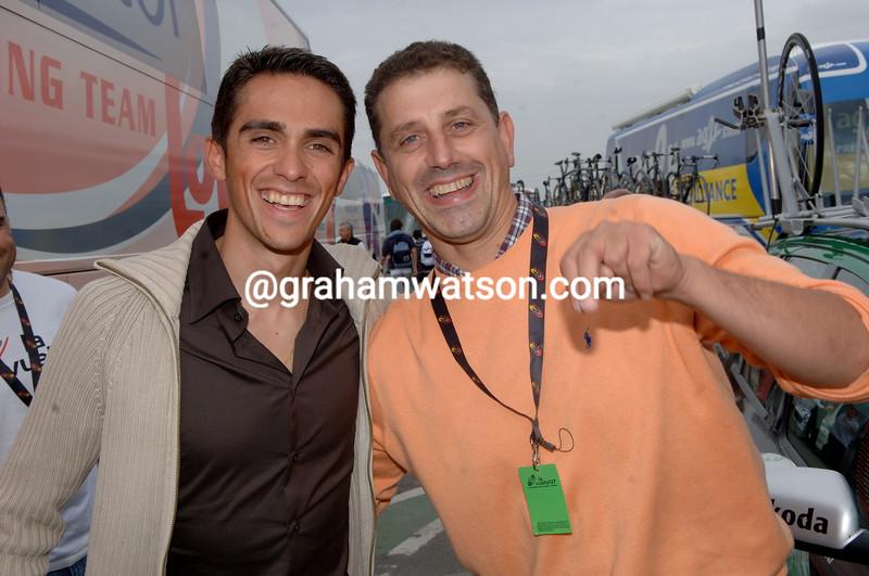 Alberto Contador with Spanish photographer and friend, Rafa Gomez
