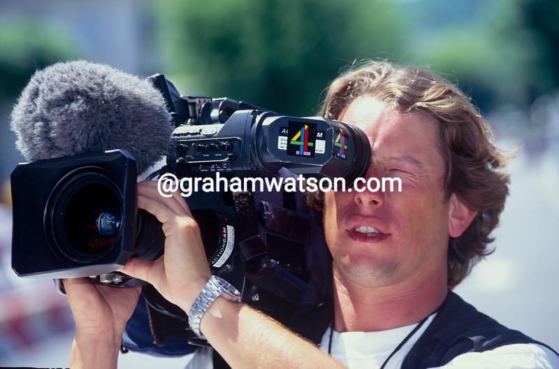 Glenn Wilkinson filming the Tour de France
