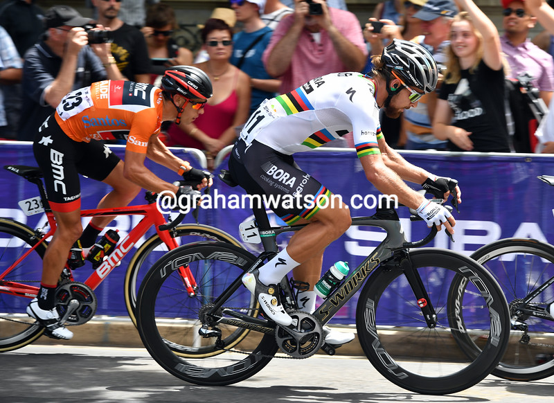 Peter Sagan and Richie Porte on stage six of the 2017 Tour Down Under
