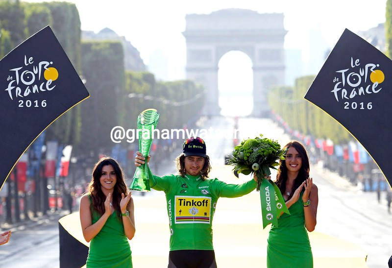 Peter Sagan celebrates his Green Jersey win in the 2016 Tour de France