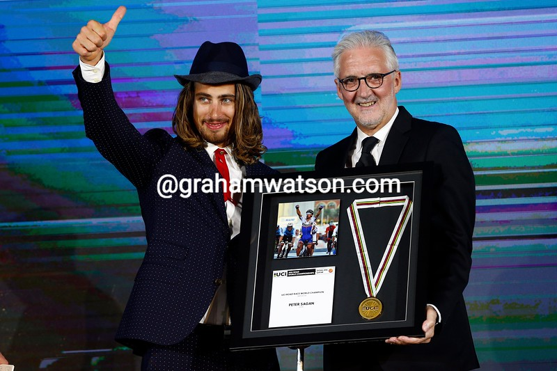 Peter Sagan and Brian Cookson at the UCI Gala at the 2016 Abu Dhabi Tour